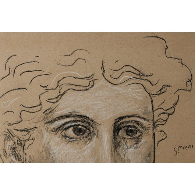 """Contemporary Sarah Myers Contemporary """"Head of a Woman"""" Charcoal Drawing For Sale - Image 3 of 8"""