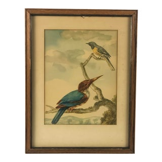 Early 19th Century Framed Wall Art- Birds in Tree For Sale
