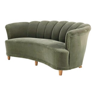 20th Century Swedish Green Velour Sofa For Sale