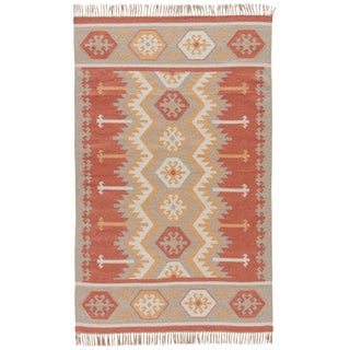Jaipur Living Emmett Indoor/ Outdoor Geometric Orange/ Beige Area Rug - 2′ × 3′ For Sale