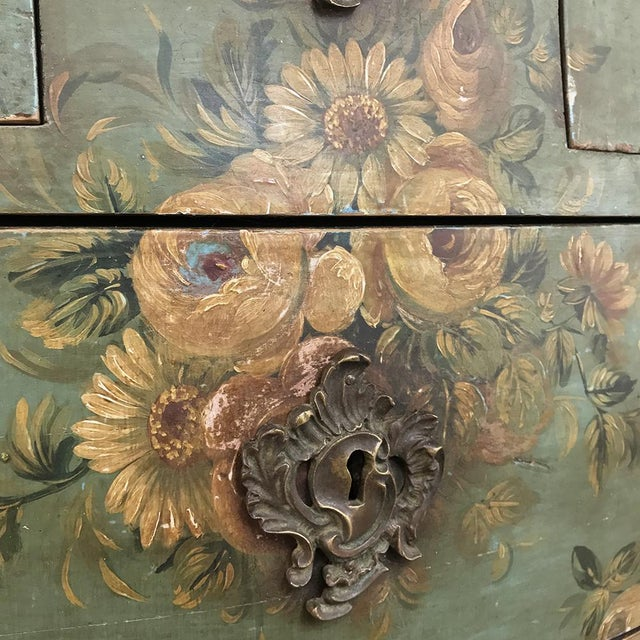 19th Century French Louis XV Painted Marble Top Commode For Sale - Image 10 of 13