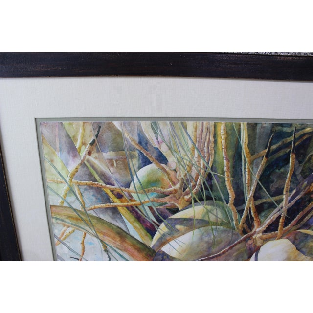 """Impressionist Vintage Barbara Shipman Watercolor Painting """"Lots of Coconuts"""" For Sale - Image 3 of 13"""