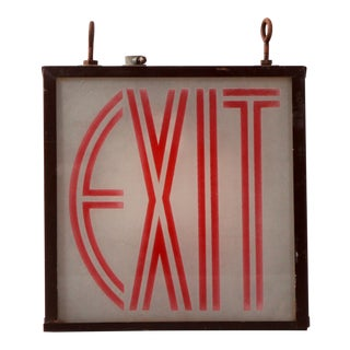 Vintage 1930s Art Deco Lighted Exit Sign For Sale