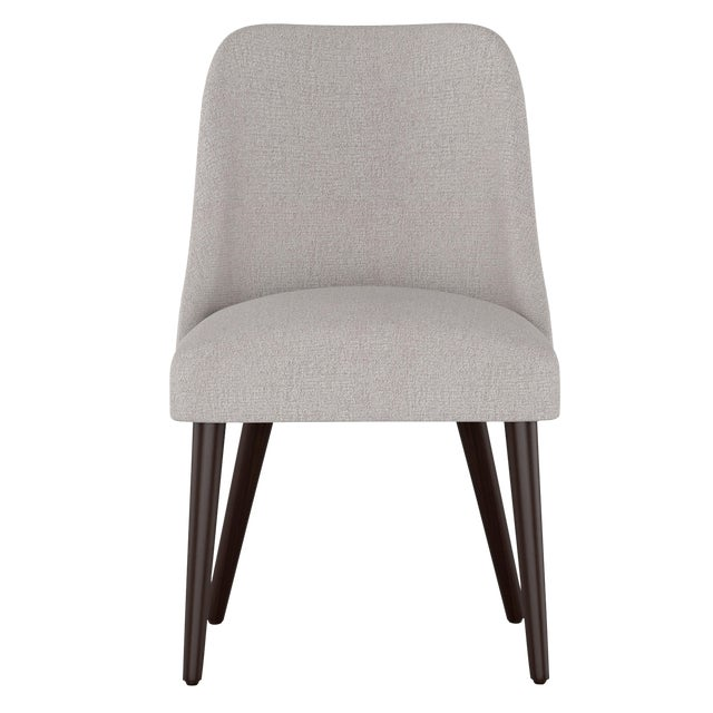 Rounded Back Dining Chair in Aiden Platinum For Sale