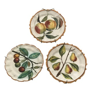 1950s French Country Faience Decorative Plates - Set of 3 For Sale