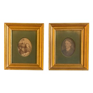 Gallery Wall Collection 2 Original Antique 1930's Family Photos, Beautiful Frames a Pair For Sale
