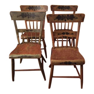 Original Country Wood Chairs - Set of 4 For Sale