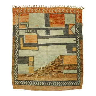 Moroccan Square Rug with Mid-Century Modern Style For Sale