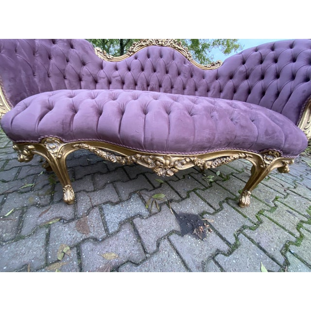 New Purple French Louis XV Style Sofa. Made to Order For Sale - Image 4 of 8