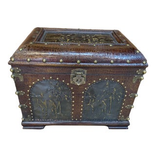 1800's Antique Brass & Crocodile Leather Chest For Sale