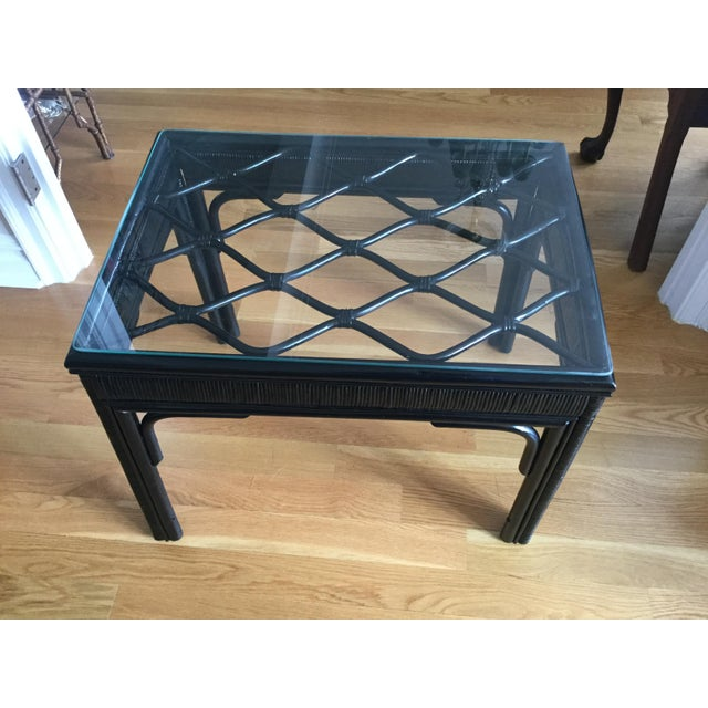 Chic Rattan Coffee Table: Hollywood Regency Style Black Rattan Coffee Table