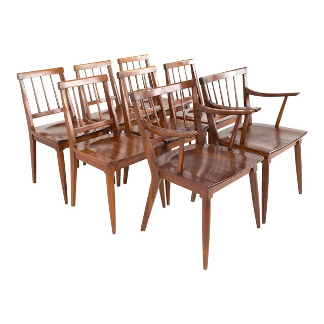 Mid Century Paul McCobb Style Cherry Dining Chairs - Set of 8 For Sale