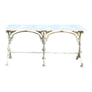 19th Century Cast Iron Marble Top Sofa Table ~ Confectioner's Table For Sale
