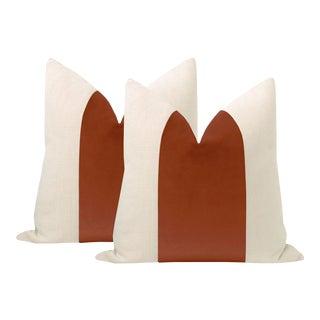 "22"" Rust Velvet Panel + Linen Pillows - a Pair For Sale"