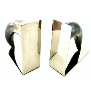 21st Century Contemporary Chrome Mounted Horn Bookend Sculptures - a Pair Preview