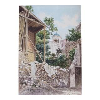 D Vassiliou Evocative Greek Church Watercolor Painting