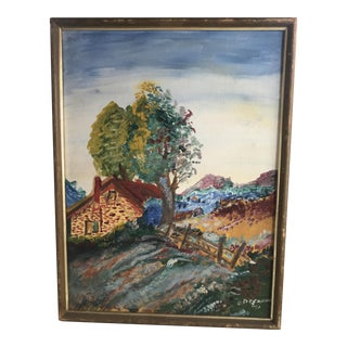 Vintage Americana Lamdscape Oil Painting For Sale