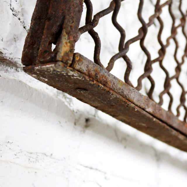 Antique Primitive Industrial Woven Wire Window Security Guard For Sale - Image 10 of 13