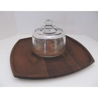 Vintage Teak Cheese Board With Glass Dome Preview