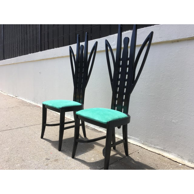 Fiam Italia Memphis Grasshopper Chairs Attributed to Ugo La Pietra Pair For Sale - Image 4 of 5