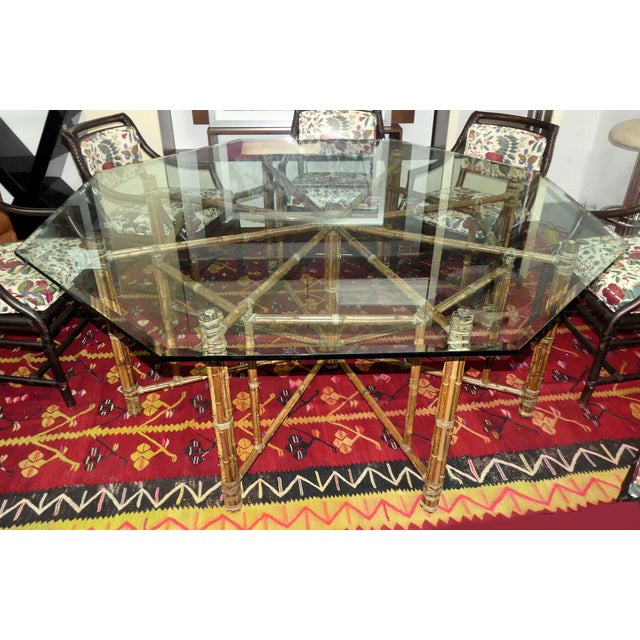 McGuire Bamoo and Laced Rawhide Octagonal Dining Table For Sale In Miami - Image 6 of 13