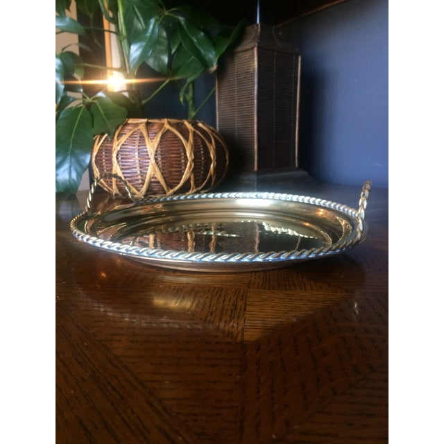 Boho Chic 1980s Brass Tray With Handles For Sale - Image 3 of 6