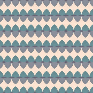 Mid-Century Modern Gemstone 'Aquamarine' Metallic Grass Cloth Wallpaper Roll For Sale