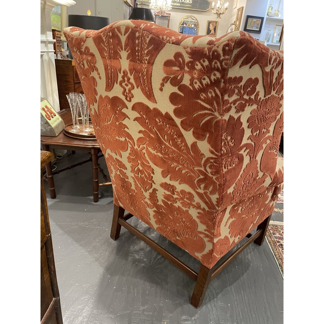 1920s Vintage Red Wingback Chair For Sale In Boston - Image 6 of 7