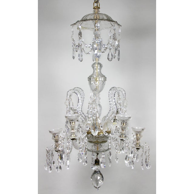 Anglo Irish Cut Glass Chandelier For Sale - Image 9 of 9