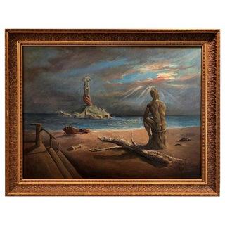 1970s Vintage Surrealist Salvador Dali Style Oil on Canvas Signed Hernandez For Sale