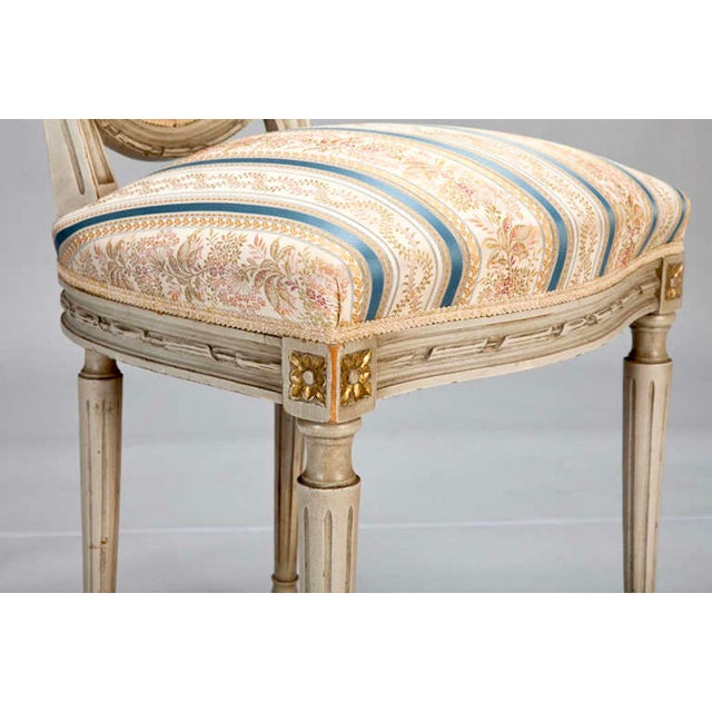 Set of 8 French Louis XVI Cameo Back Dining Chairs With New Upholstery For Sale - Image 7 of 7