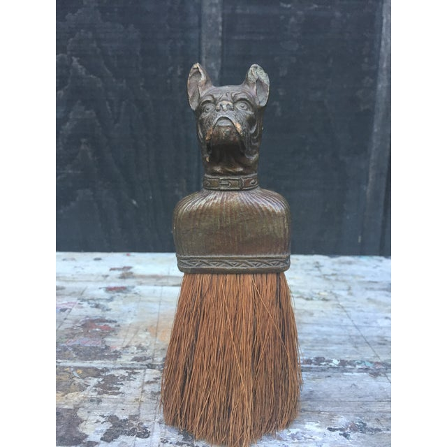 Bulldog whisk brush/clothes broom circa 1920/1930. The dog/handle area appears to be made of composition wood and is in...