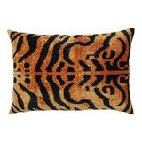 Image of Contemporary Turkish Handmade Luxury Tiger Print Velvet Throw Pillow For Sale