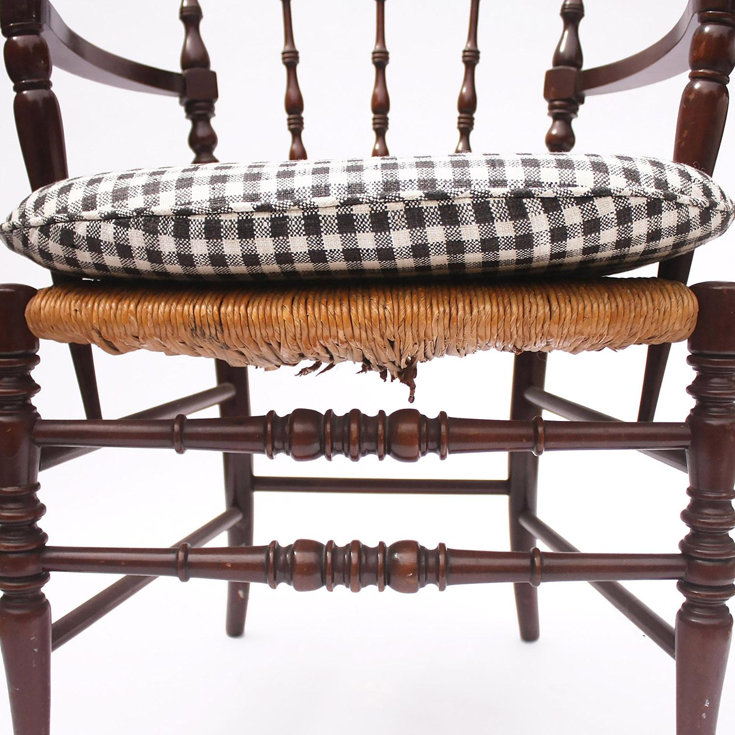 1930s Vintage Gingham Cushion Spindle Armchair