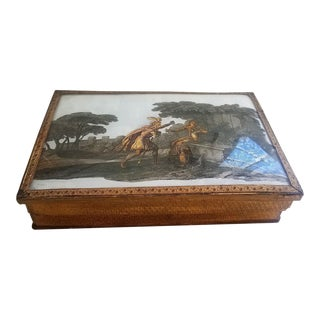 Antique French Reverse Painted Box For Sale