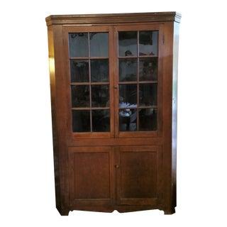 19th Century American Corner Cupboard For Sale