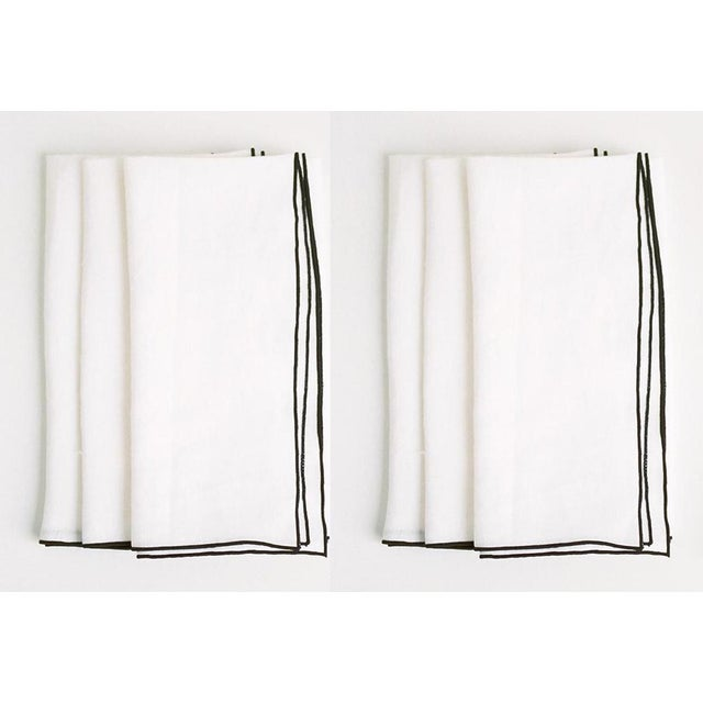 White with Black Trim Linen Napkin - Set of 6 For Sale - Image 4 of 4