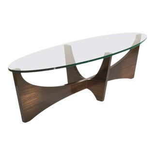 Macassar Ebony and Hand Worked Glass Surfboard Shaped Cocktail Table For Sale