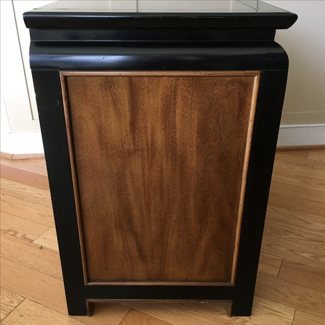 Vintage Century Burled Wood Asian Nightstand - Image 7 of 11