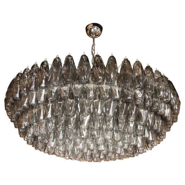 Gray Modernist Handblown Murano Polyhedral Chandelier in Smoked Pewter For Sale - Image 8 of 8