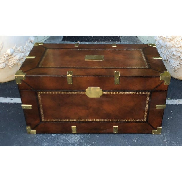 Maitland Smith Designer Leather Campaign Trunk For Sale In Los Angeles - Image 6 of 6