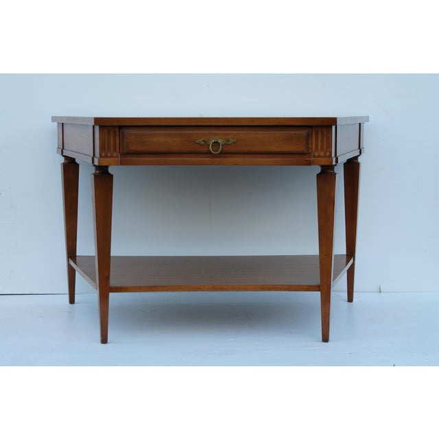 John Widdicomb Mid-Century Curved High End Walnut Accent Table - Image 4 of 11