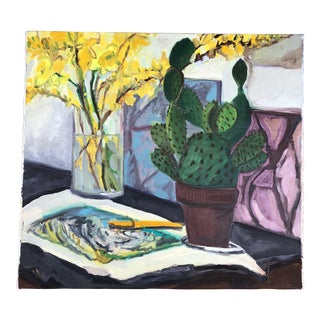 Original Vintage Still Life W/ Cactus & Daffodils Painting For Sale