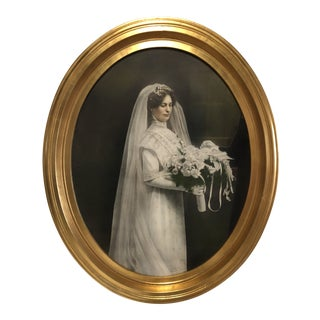 Antique Bridal Wedding Portrait in Oval Gilt Frame For Sale