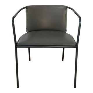 Gray Leather and Black Metal Framed Armchair For Sale