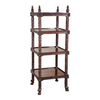 19th Century Four Tiered Rosewood Carved Etagere