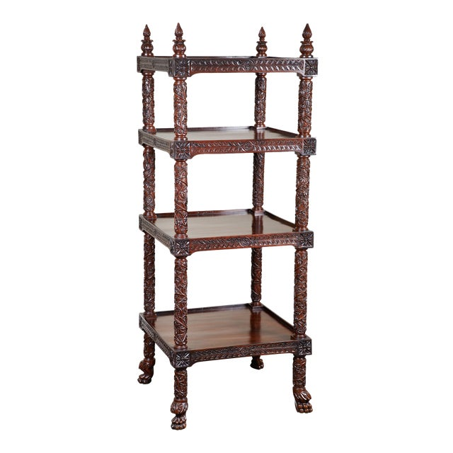 19th Century Four Tiered Rosewood Carved Etagere - Image 1 of 10