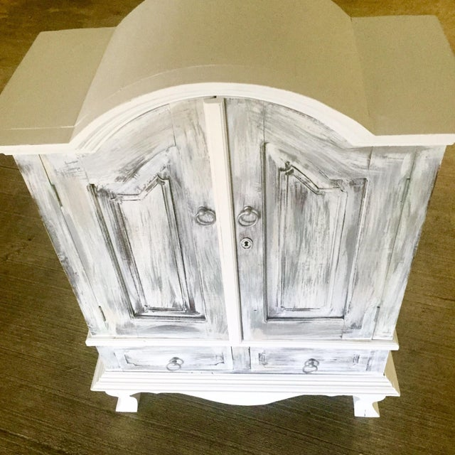 Vintage Distressed White Wine Cabinet - Image 8 of 8