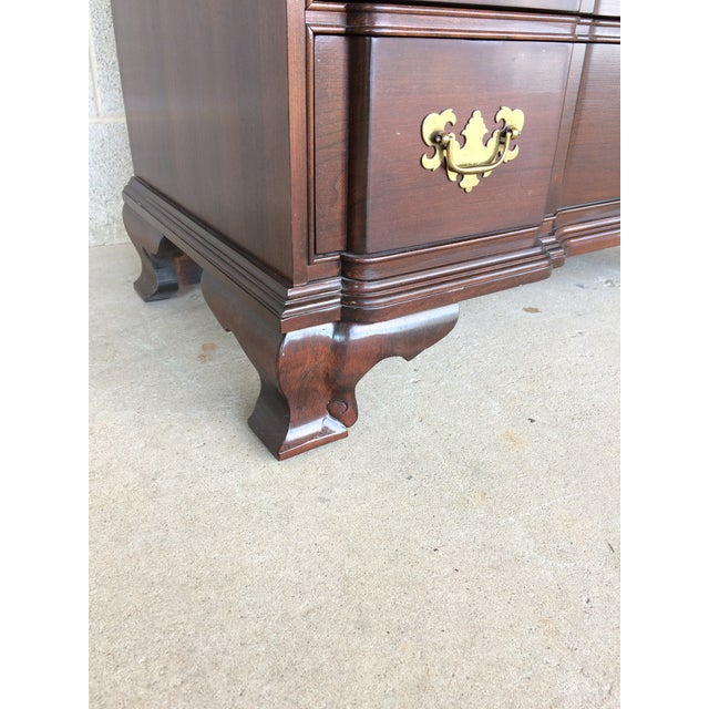 Wood Ethan Allen Georgian Court Block Front Chest of Drawers For Sale - Image 7 of 11