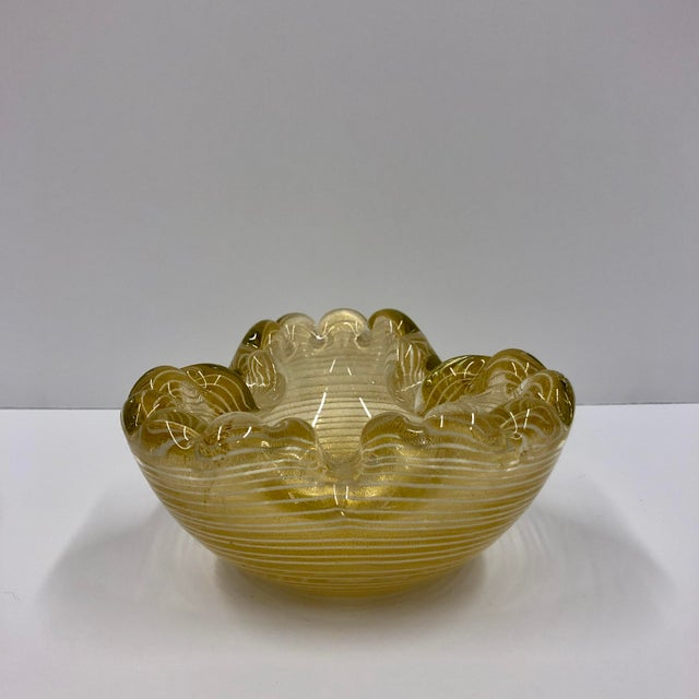 Mid 20th Century Vintage Gold and White Pinstripe Murano Sculptural Glass Dish For Sale - Image 5 of 5